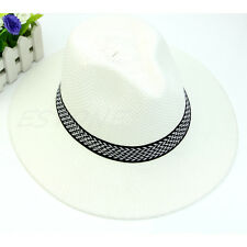 5 Color Men Wide Brim Jazz Hat Cap Travel Beach Straw Panama Cowboy Sunhat Topee