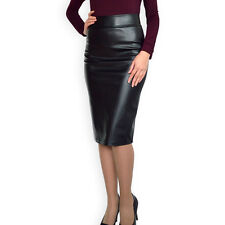 Office Straight Pencil Bodycon Faux Leather Black Skirt 8 10 12 14 16 18 20 22