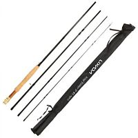 Carbon Fly Fishing Rod 9Ft 2.7M 4 Section Line Wt 5 Soft Cork Handle Detachable