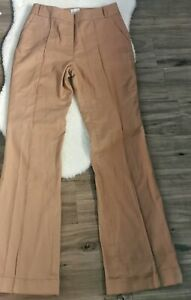 Reiss Women's Ladies Trousers Brown Size UK 12 Cotton Mix Pockets Straight High