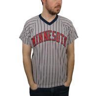 Vintage Rawlings Mens MINNESOTA TWINS Pinstripe MLB Puckett 50/50 T Shirt XL L