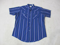 Ely Cattleman Pearl Snap Shirt Adult Extra Large Blue Green Western Cowboy Men *