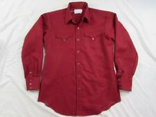 Vtg 60s 70s H Bar C Polyester Pearl Snap Western Shirt Cowboy Rockabilly Red
