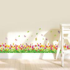 Tulip Flowers Grass Butterflies Wall Stickers Home Decal Mural Window Decor AU