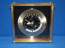 Seiko Quartz Brass World Airplane Desk Mantle Time Zones City Names Clock Japan