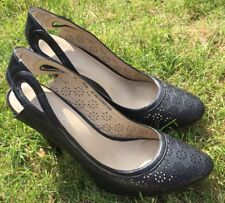 M&S Autograph UK5.5 Black Leather Shoes Flower Cut Out Stiletto High Heels Wood