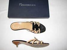 Fieramosca & Co Shoes Kandace Black Leather Kitten Heels Women Ladies Sandal Tan