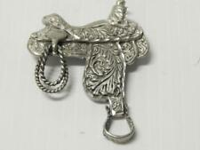 VINTAGE WESTERN COWBOY COWGIRL HEAVY SILVER SADDLE PIN - DETAILED
