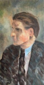 20th Century English School Oil on Canvas Portrait Painting. Signed.