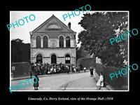 OLD LARGE HISTORIC PHOTO OF LIMAVADY DERRY IRELAND, VIEW OF ORANGE HALL c1910