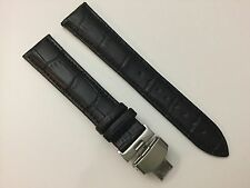 22MM Turned-Edge Quality Genuine Leather Strap Band with Butterfly Clasp