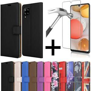 For Samsung Galaxy A42 5G Case Leather Stand Wallet Phone Cover + Screen Glass