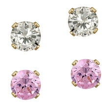 Sale! 10K Solid Gold 4mm Clear & Pink Cubic Zircon 2 Pairs Stud Earrings