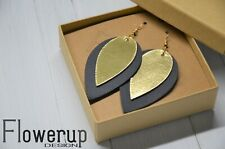 Lightweight real leather black gold earrings, teardrop earrings, valentine gift