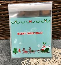 12 Self Adhesive Christmas Cellophane Party Favor Gift Bags 10cm x 10cm