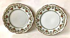 "Pair of J. Pouyat Plates, Limoge, France, 7.5"" Diameter, Floral, Gold Trim, Vtg"