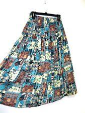 VTG Southwestern Print Elastic Waist BOHO Fall Festival Full Gauze Skirt - S / M