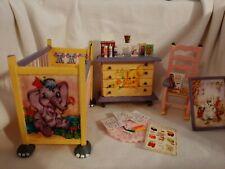 Miniature dollhouse Furniture Lot Crib Dresser Rocking chair Elephant Nursery