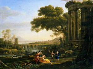 Claude Lorrain Landscape with Nymph and Satyr Dancing Poster Giclee Canvas Print