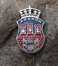 Antique Krakow Castle Towers Castle City Crown Heraldic Crest Tourist Pin Badge