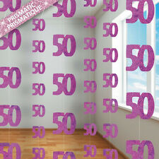 50th BIRTHDAY PARTY SUPPLIES PK 6 GLITZ PINK DANGLING HANGING DECORATIONS