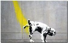 "BANKSY STREET ART *FRAMED* CANVAS PRINT Dog pee wall 24x16"" stencil -"