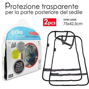 2 Protezione Trasparente Sedile Schienale Posteriore Auto Piedi Bambini PVC POKE