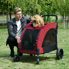 More details for pawhut dog stroller w/ mesh windows 4 wheels for medium large dogs cushion red