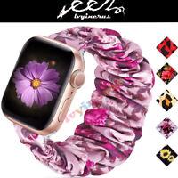 Scrunchie Purple Flower Loop Band Strap For Apple Watch iWatch Series 5/4/3/2/1