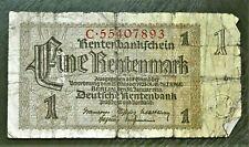 1937 OLD GERMANY 1 RENTENMARK  BANKNOTE , GOOD..