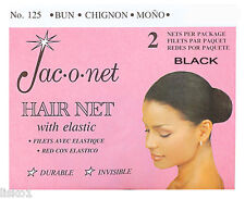 Jac-O-Net  #125  w/Elastic Chignon Invisible Hair Net (2) pcs. Black