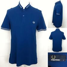 FRED PERRY Polo Shirt Size UK Large Men's In Blue Short Sleeve Top 100% Cotton