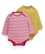 Mamas & Papas 2 Pack Striped Bodysuits Age Newborn BNWT RRP £16.95 Red/Mustard