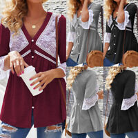 Women Lace V-neck Button Down Shirt Top Tee Casual Loose Plus Size Tunic Blouse