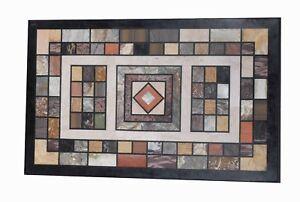 "48"" x 24"" Marble Table top marquetry Inlaid semi precious stone pietra dura work"