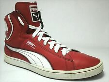 PUMA Hi Top First Round Basketball Shoes Sneakers White Red US 13 UK 12 EUR 47