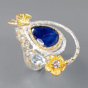 Fine Art SET Blue Sapphire Ring Silver 925 Sterling  Size 8.5 /R162535