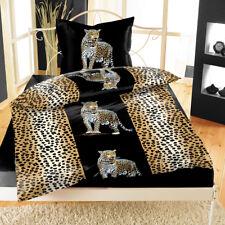 Mikrofaser Bettwäsche 135x200 4-tlg Leopard Tierfellmuster Streifen Afrika
