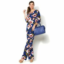 IMAN Global Luxury Resort Tunic Palazzo Pants Set  Navy Floral M TALL WAS $109