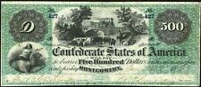 CRISP UNC. 1864 $500.00 CONFEDRATE STATE OF AMERICA BANKNOTE COPY!