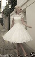 New Lace A-line Short Cap Sleeve White/Ivory Wedding Dress Bridal Gown Size 6-16