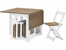 Seconique Butterfly Dining Set in White & Pine - Folding Table & 4 Chairs