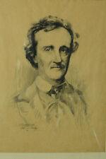 Rare dessin portrait de l'écrivain Edgard Allan Poe 19éme J. PERRICHON  drawing