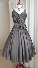 Planet Vintage 50's Style Full Skirt Taffeta Prom Party Grey Silver Dress 8 10