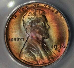 1946-S  .01  ANACS  MS 65 RB  Lincoln Head Cent, Lincoln One Cent