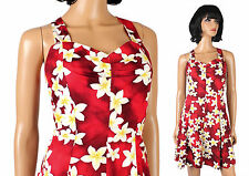 Hawaiian Bombshell Dress XS S Vintage 80s does 50s Red Floral Pinup Girl Costume