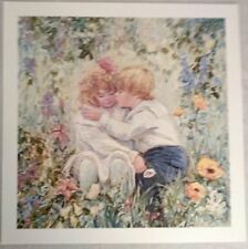 "Wall Print Poster Toddlers kissing in wild flowers  25"" x 25"" ~ AMAZING COLORS"