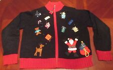 WOMEN'S KAREN SCOTT ZIP UP BLACK UGLY CHRISTMAS PARTY SWEATER GAUDY SIZE L