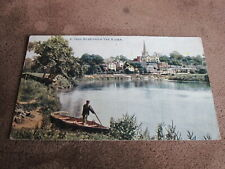 Early Herefordshire postcard -Man in boat - Ross on Wye