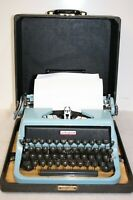 Vintage Blue Underwood Universal Golden Touch Manual Portable Typewriter W/ Case
